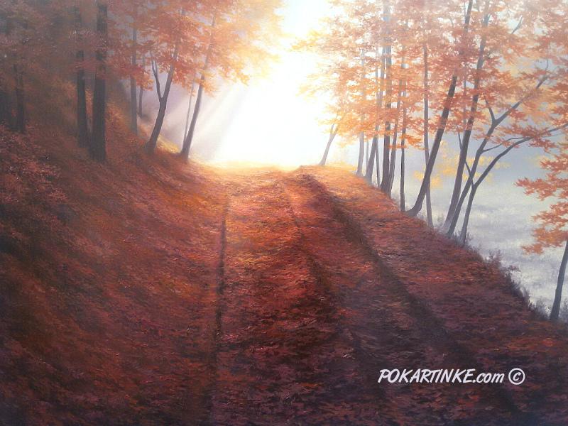 Осенняя дорога в листьях - картинная галерея PoKartinke.com