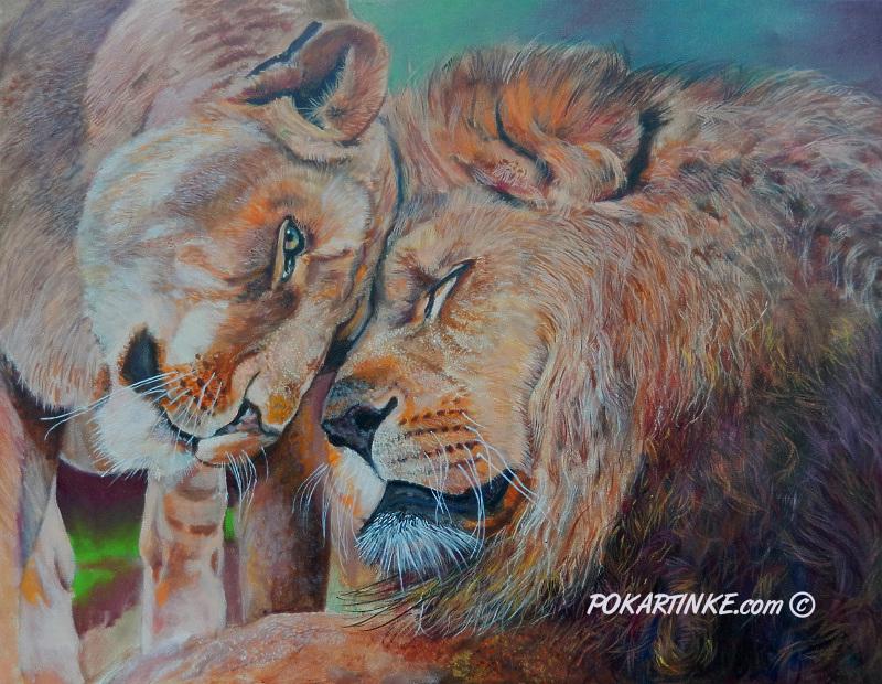 Пара львов - картинная галерея PoKartinke.com