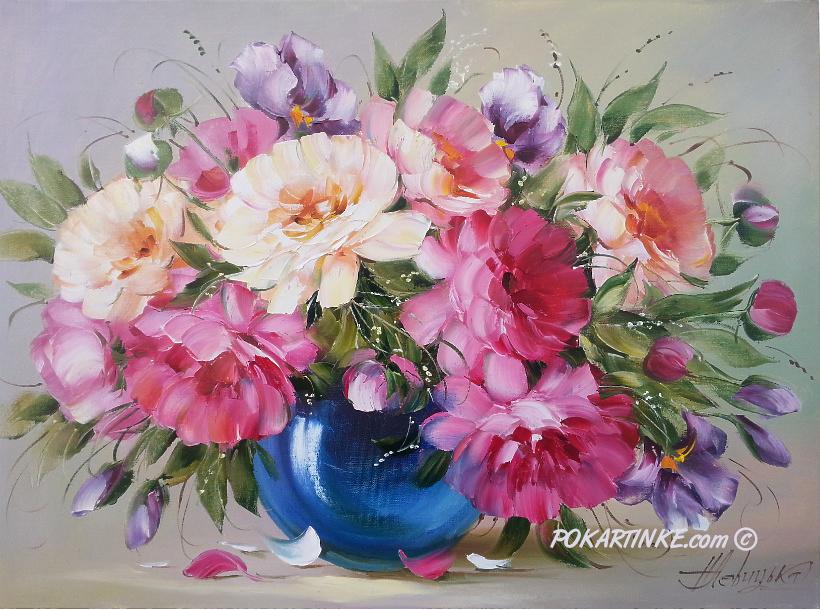 Букет с пионами и ирисами - картинная галерея PoKartinke.com