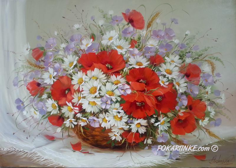 Полевые цветы в корзине - картинная галерея PoKartinke.com