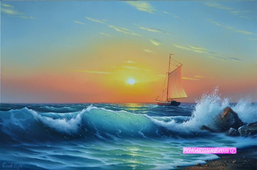 Прибой волны - картинная галерея PoKartinke.com
