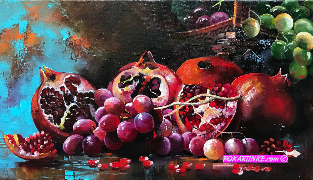 Натюрморт с грантами и виноградом - картинная галерея PoKartinke.com