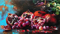 Натюрморт с грантами и виноградом