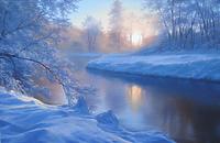 Рассвет над зимней рекой