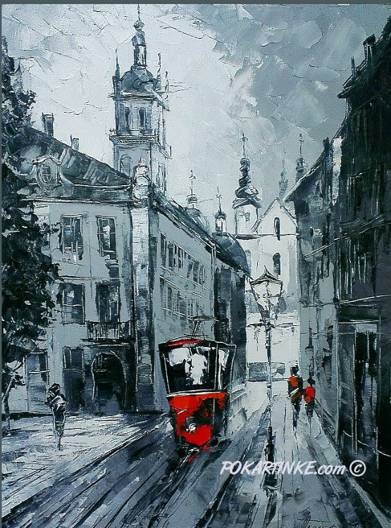 Красный трамвай - картинная галерея PoKartinke.com