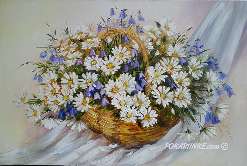 Ромашки и колокольчики - картинная галерея PoKartinke.com