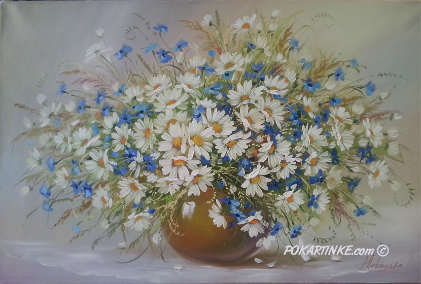 Ромашки с васильками - картинная галерея PoKartinke.com