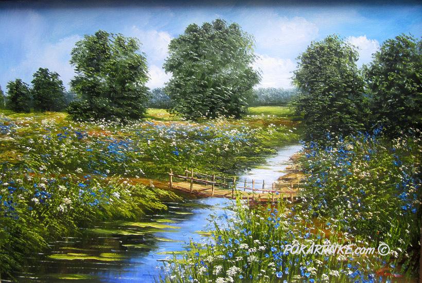 Мостик через ручей - картинная галерея PoKartinke.com