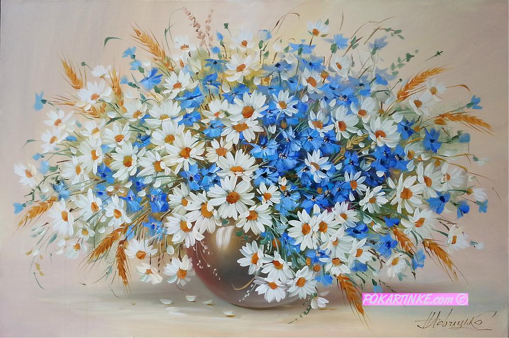 Букет из ромашек васильков - картинная галерея PoKartinke.com