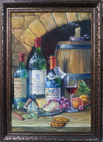 Натюрморт с вином, сыром и виноградом