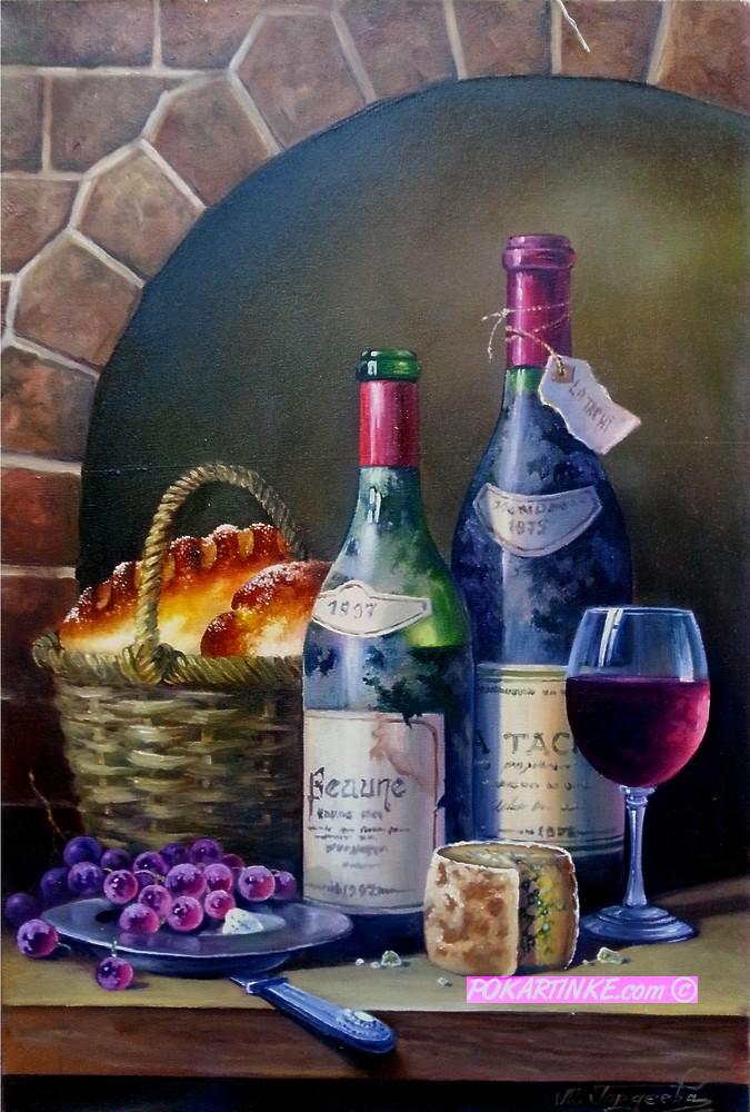 Натюрморт с вином и сдобой - картинная галерея PoKartinke.com