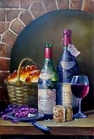 Натюрморт с вином и сдобой