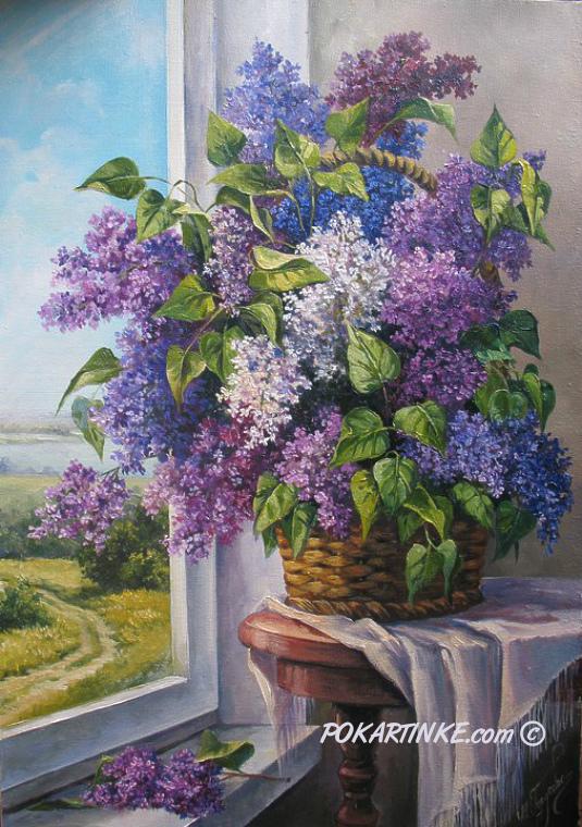 Сирень в корзине - картинная галерея PoKartinke.com
