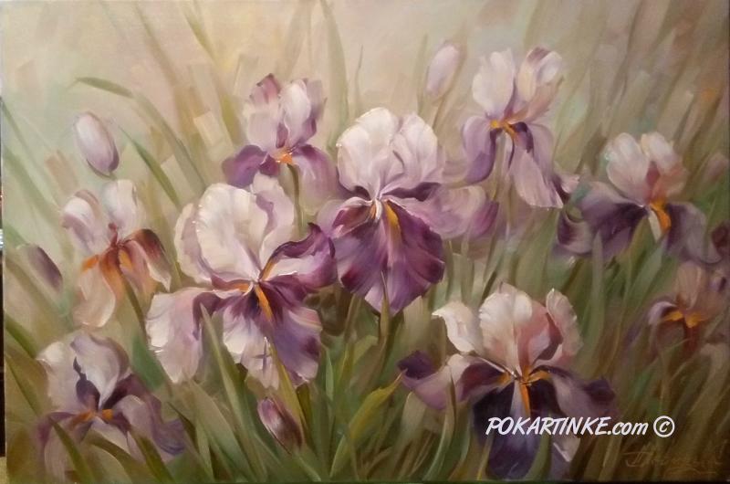 Сиреневые ирисы - картинная галерея PoKartinke.com