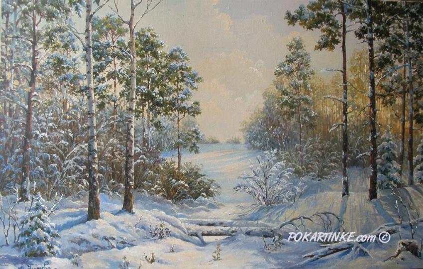 Снежный лес - картинная галерея PoKartinke.com