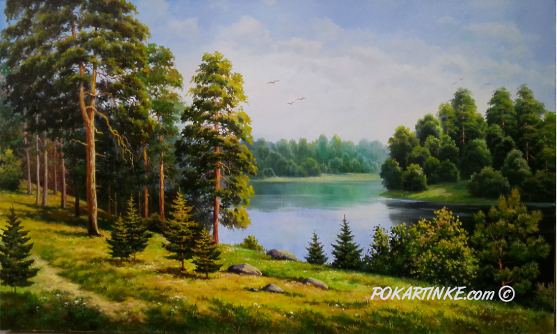Сосновая роща у реки - картинная галерея PoKartinke.com