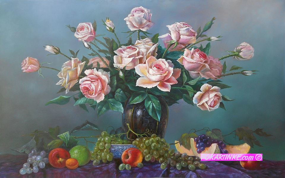 Натюрморт с розами - картинная галерея PoKartinke.com
