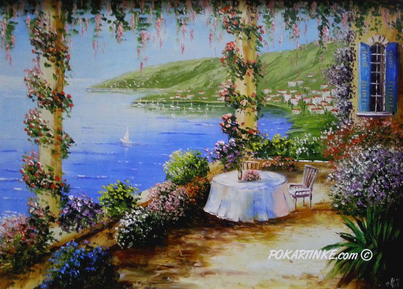 Столик на веранде - картинная галерея PoKartinke.com