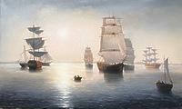 Туманное утро в море