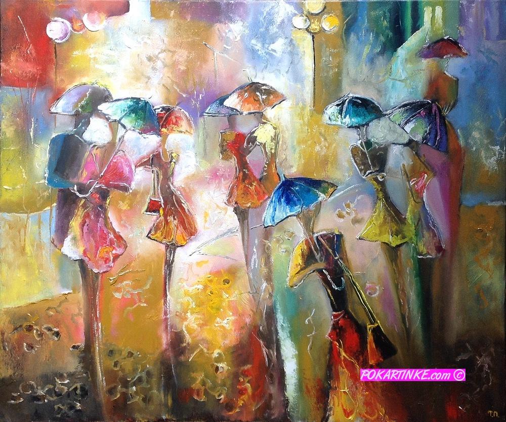 Вечерние зонтики - картинная галерея PoKartinke.com