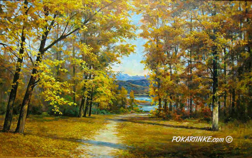 Золотая осень в изумрудном каньоне - картинная галерея PoKartinke.com