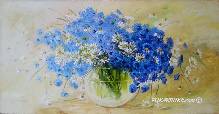 Васильковый букет - картинная галерея PoKartinke.com
