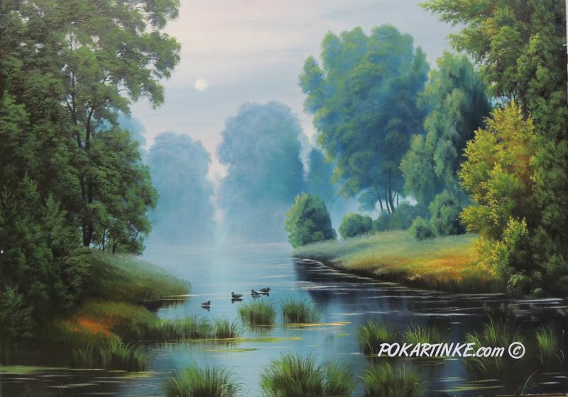 Вечер на реке - картинная галерея PoKartinke.com