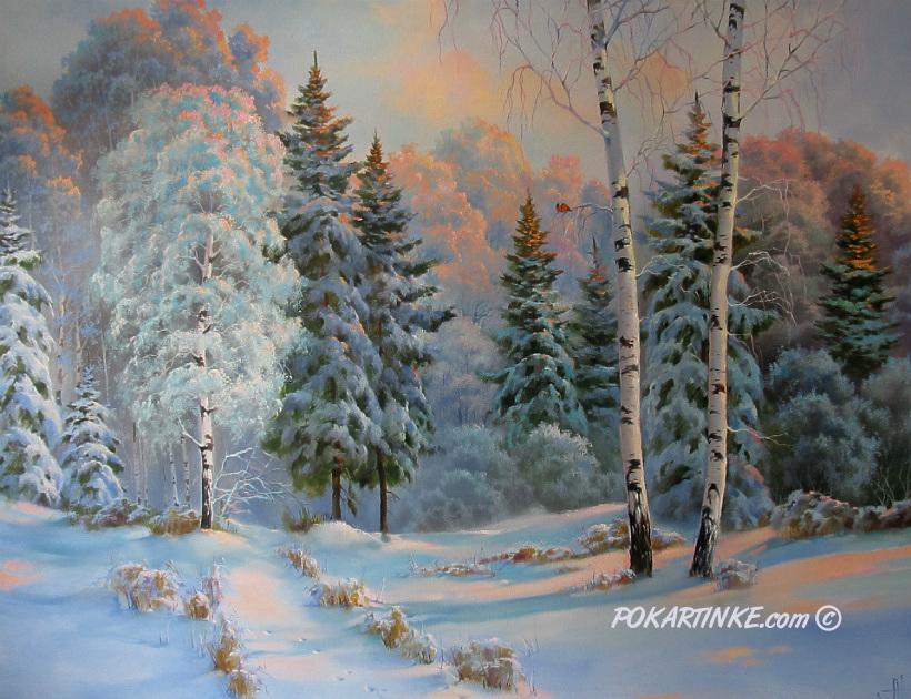 Вечер в зимнем лесу - картинная галерея PoKartinke.com