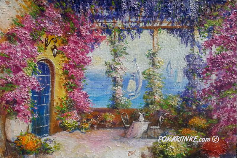 Цветочная терраса у моря - картинная галерея PoKartinke.com