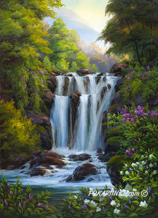 Весенний водопад - картинная галерея PoKartinke.com