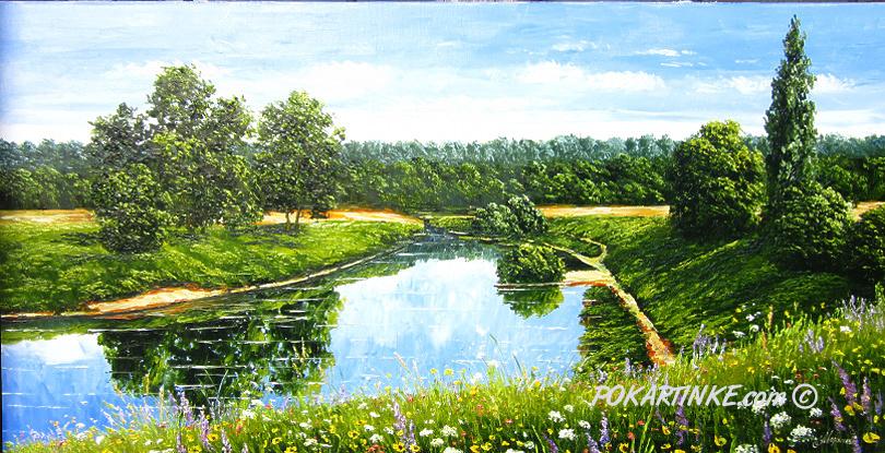 Весенняя река - картинная галерея PoKartinke.com