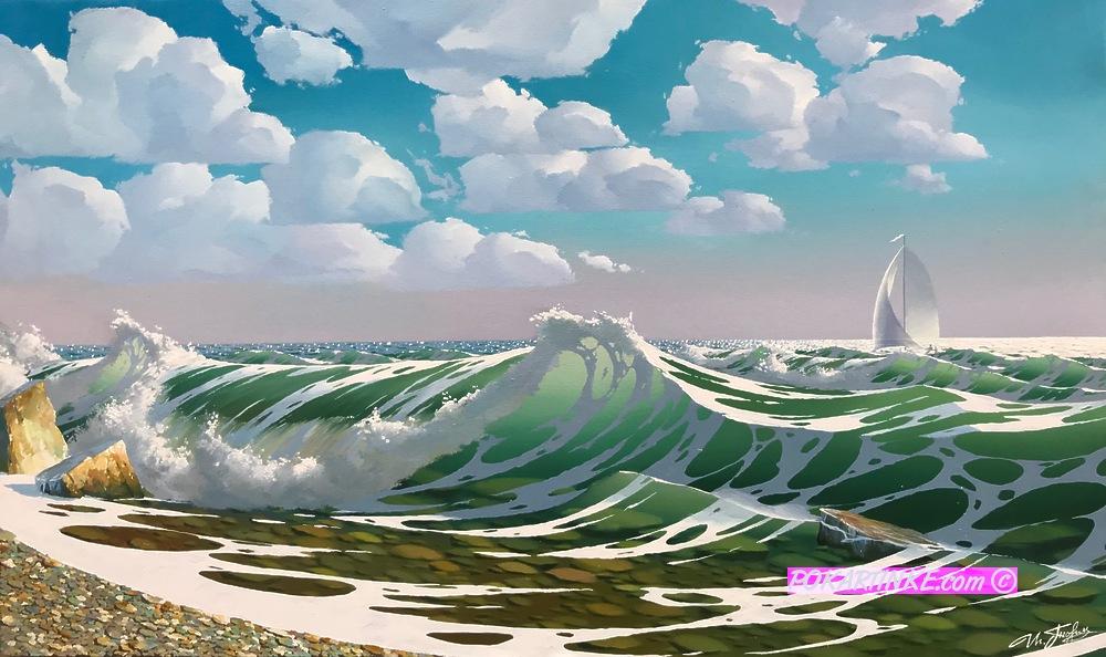 Прибой солнечным днем - картинная галерея PoKartinke.com