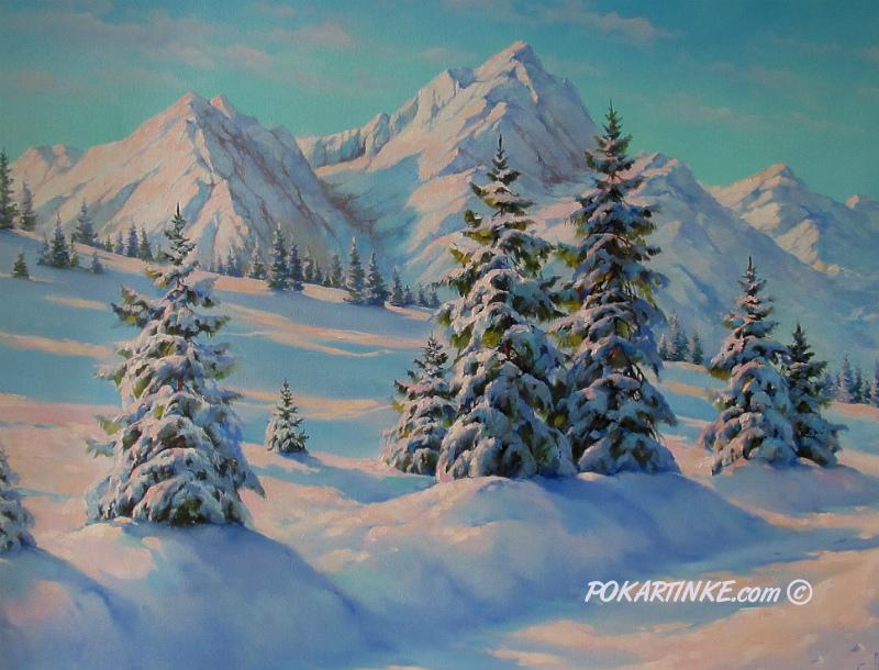 Зимние горы - картинная галерея PoKartinke.com